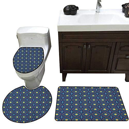 Moeeze-Home Quatrefoil Toilet Carpet Floor mat Historical Pattern with Eastern Origins Geometric Girih Tile Ultra Soft Microfiber Navy Blue Turquoise -