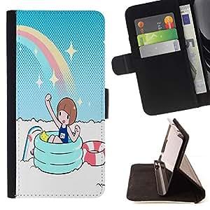 Momo Phone Case / Flip Funda de Cuero Case Cover - Partido del arco iris;;;;;;;; - Samsung Galaxy Note 5 5th N9200