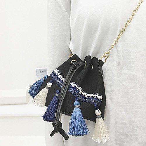 Drawstring Bucket Canvas Women Shoulder Domybest Bag Ethnic Crossbody Bag Black Chain HE01q4awnW