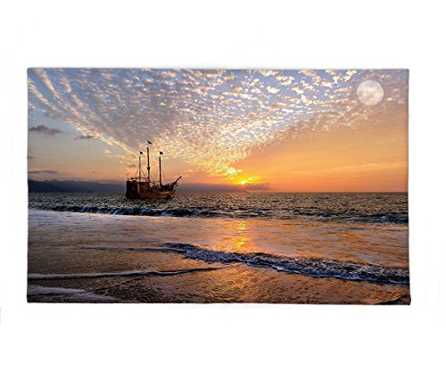 Sea Sailing Pirate Costumes - Interestlee Fleece Throw Blanket Nautical Pirate Ship Sailing in Waves Fantasy in the Sea Horizon Moon Sky Surreal Scenery Multicolor