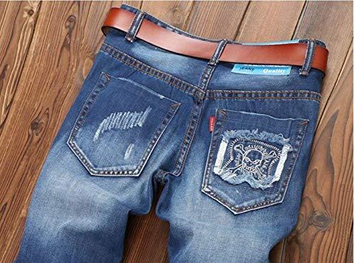 Marchio Cher Da Toppa Blau Dritti Jeans Classico Fori Alla Abbigliamento Ssig Sfilacciata Uomo In Denim Originale Moda Badge Tide Reality Cotone Slim TdpBcxa