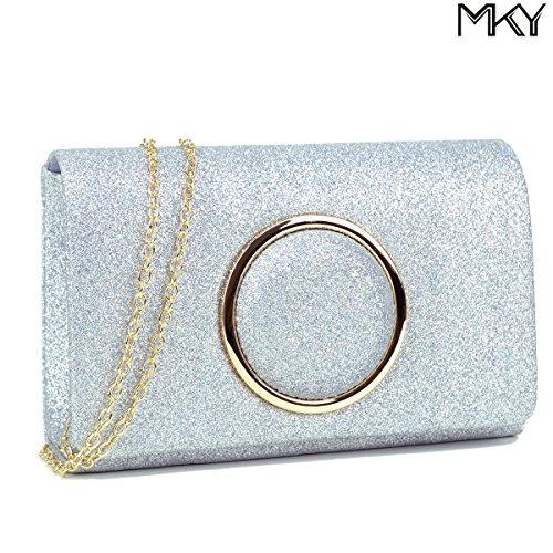 Women Glitter Sequin Clutch Purse Evening Bag Shiny Party Handbag Silver by MKY