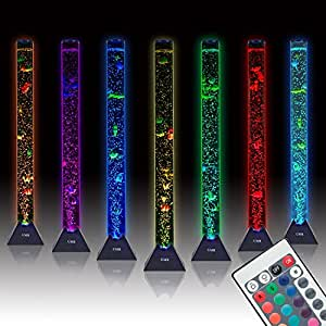 UMR Sensory Bubble Tube Floor Lamp w/10 Fish, 20 Color Remote, & 3.3ft Water Tower Tank is Best LED Aqua Night Light for Kids Bedroom, Autism, or Fake Aquarium Column Stand for Living Room Decor