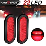 "Automotive : AMBOTHER 2pcs 6"" 22-LED Oval Red Stop/Turn Signal/Brake/Marker/Tail LED Light, Flush Mount for Truck Trailer Trail Bus 12V Red (Pack of 2)"