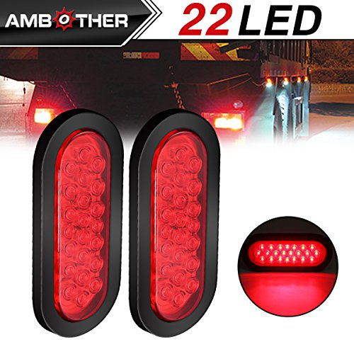 Best Review Of AMBOTHER 2pcs 6 22-LED Oval Red Stop/Turn Signal/Brake/Marker/Tail LED Light, Flush ...