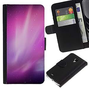 KingStore / Leather Etui en cuir / Samsung Galaxy S4 Mini i9190 / Aurora Borealis Purple Estrellas del cielo nocturno