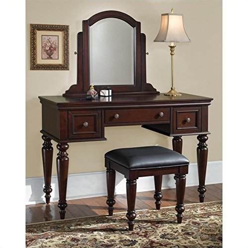 2 Drawer Cherry Bench - Home Styles 5537-72 Lafayette Vanity Table and Bench, multi-step Cherry finish