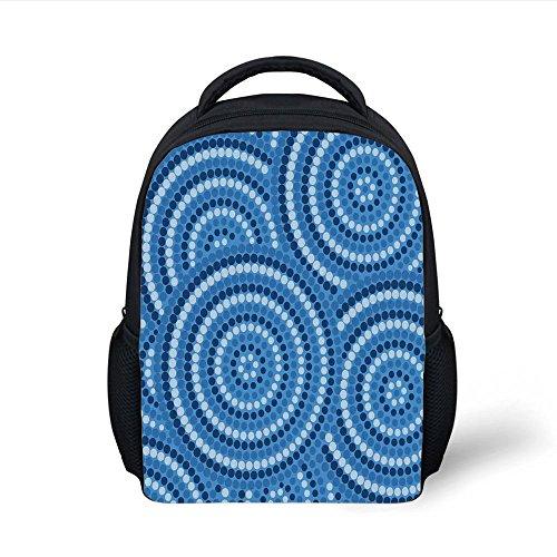 iPrint Kids School Backpack Navy Blue Decor,Abstract Aboriginal Ethnic Indigenous Australian Mosaic Style Dots Boho Art,Dark Blue Plain Bookbag Travel Daypack