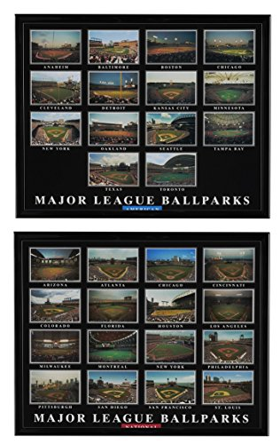 Historic Stadiums - - American League & National League Ball Parks Framed Aerial Prints Set of 2