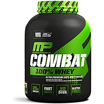 MusclePharm Combat 100% Whey – 25Gs of a Ultra-Premium, Gluten-Free, Low Fat Blend of Fast-Digesting Whey Protein for Performance, Recovery, and Muscle Building, Chocolate Milk, 5 Pound, 68 Servings