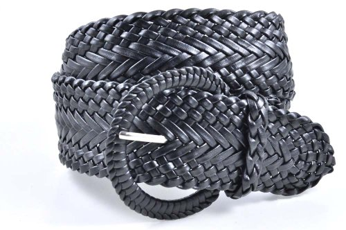 - Women's Fashion Web Woven Braid Faux Leather Metallic Wide Belt, L 43