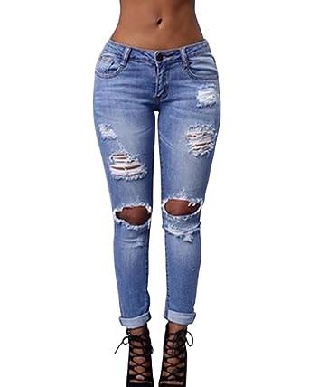 Kasen Mujer Pantalones Cintura Alta Elásticos Skinny Slim ...