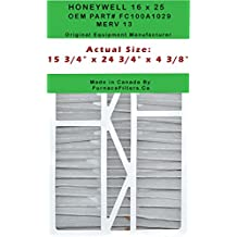 "Honeywell 16x25x5 Part # FC100A1029 MERV 13. Actual Size 15 7/8"" x 24 3/4"" x 4 3/8"". Case of 3 Made in Canada by FurnaceFilters.Ca"