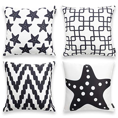 Bamboo Set Sofa - Pumelo tree Throw Pillow Covers Black and White Starfish Pack of 4 Cushion Case Set Cozy Bamboo Joint Pillow Cases for Home Decoration Sofa Bedroom 18 x 18 inch 45 x 45 cm (Pattern 6)