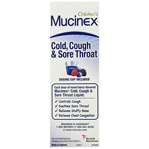 Mucinex Berry Flavored Cough and Sore Throat Liquid, 4 Fluid -- per