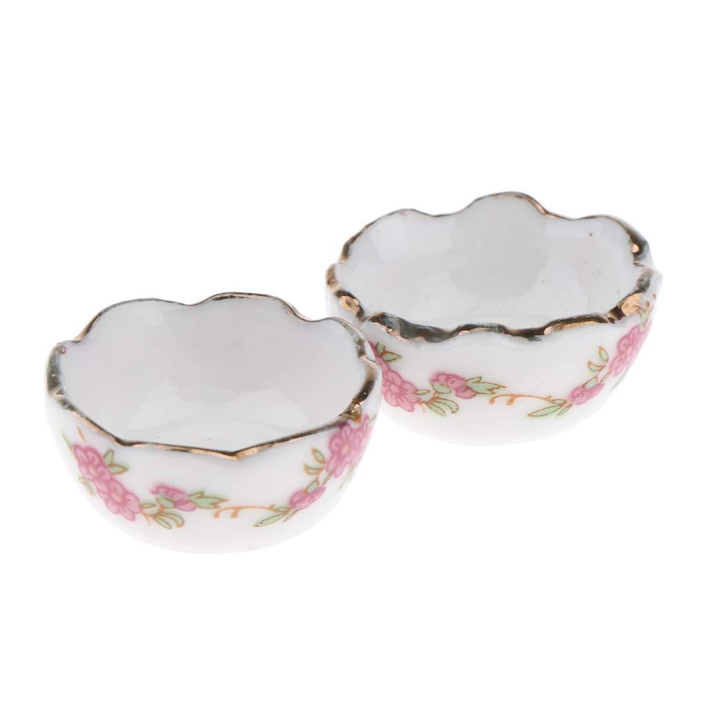 2pcs 1//12 Doll House Miniature Vintage Ceramic Bowls Set Kitchen Accessories White
