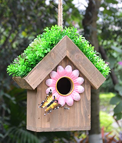 GIFTME 5 Pine Birdhouse Metal Flower with Butterfly Decorative Succulent Grass Roof Outdoor Bird House for Spring Garden Decor -10.5 Inch Pink
