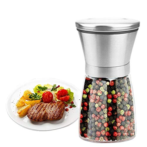Libershine Pepper Grinder or Salt Shaker for Professional Chef - Best Spice Mill with Brushed Stainless Steel, Special Mark, Ceramic Blades and Adjustable - Indispensable Spice Set Mill