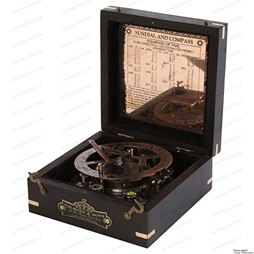 Ideas for Men Xmas 5 Inch Perfectly Calibrated Large Sundial Compass Rosewood Case Top Grade Engraved Brass Sundial with Embossed Needle (Steampunk-tech)