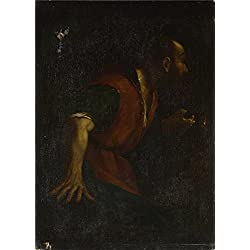 Oil Painting 'After Guercino - A Bearded Man Holding A Lamp,1617-64', 8 x 11 inch / 20 x 28 cm , on High Definition HD canvas prints is for Gifts And Bath Room, Hallway And Laundry Room Decoration