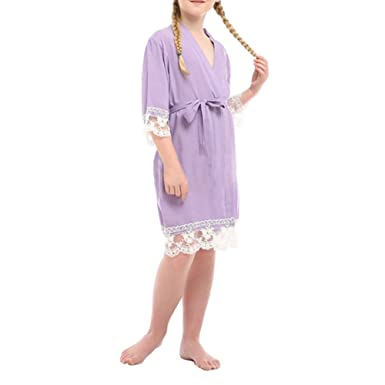 YOLIA Kids Girls Robes Solid Colours Comfy Cotton Kimono Nighties Lace  Dressing Gowns da5facd24