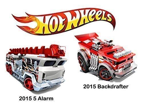 Fire Engine 5 Alarm & Hot Rod Backdrafter 2 Truck Set Hot Wheels 2015 #05 & #051 HW Rescue