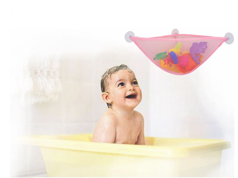 Alasida Bath Toy Organizer Set, 2 Mesh Bath Toy Storage Bag, 4 Strong Suction Cups Hook, 5 Cartoon Animal Toothbrush Holders by Alasida (Image #2)