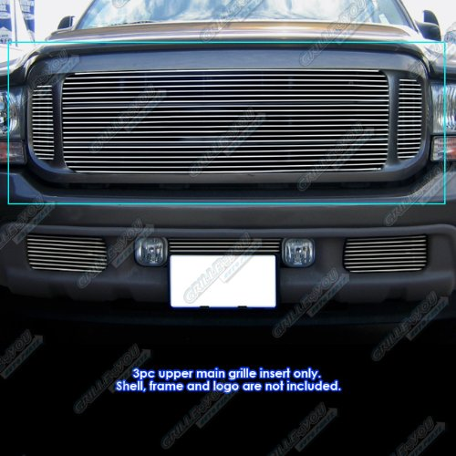 Upper 4 Piece Grille Grill - APS Fits 99-04 Ford F250/F350/Super Duty/Excursion Main Upper Billet Grille #F65709A