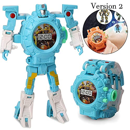 gomamo Transform Robot Watch Toys, Kids 3 in 1 Projection Deformation Bots Toys for Toddles Age 3 (Blue - Version 2)