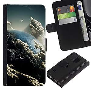 Ihec-Tech / Flip PU Cuero Cover Case para Samsung Galaxy S5 V SM-G900 - Space Planet Galaxy Stars 57