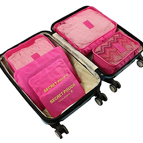 Packing Cubes 6 Piece Set Fits in Travel Carry On Luggage Compressible Organizer (Hot Pink) (Suitcase Hot Pink)