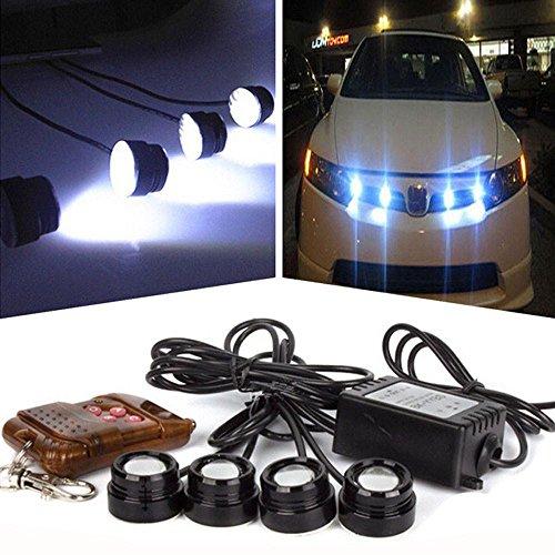 Ecosin Fashion 4in1 12V Hawkeye LED Car Emergency Strobe Lights DRL Wireless Remote Control Kit (Automotive Strobe Lighting)