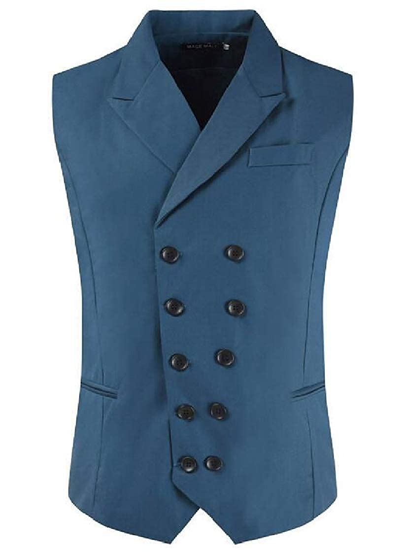 SELX Men Slim Double-Breasted Notched Lapel Vest Modern Fit Dress Waistcoat