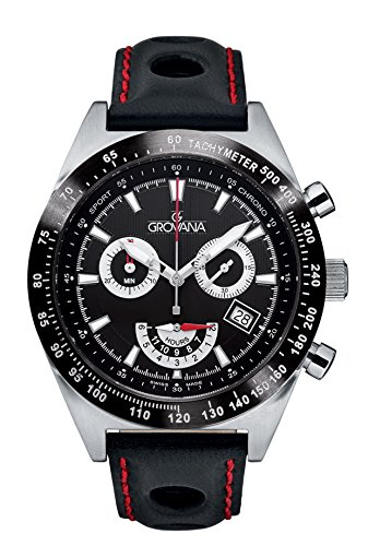 Grovana Men's 'Sport' Swiss Quartz Stainless Steel and Leather Casual Watch, Color:Black (Model: 1622-9576)