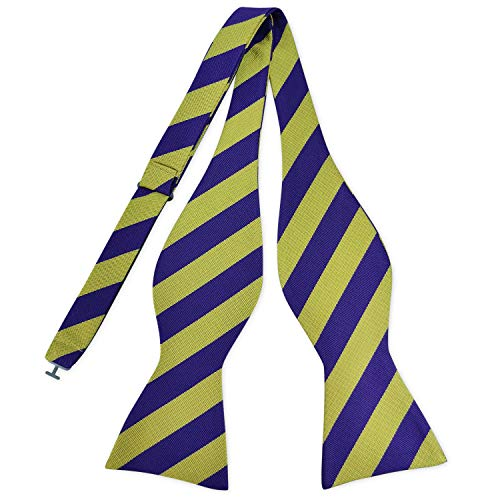 (PenSee Mens Self Bow Tie Classic Stripe Woven Silk Bow Ties-Various Colors (Yellow & Purple))