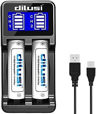 Dilusi P2 Cargador de Baterías para Cargar AA, AAA, Ni-MH Ni-CD y Li-Ion Cilíndrico Pila Recargable. Li-Ion:17670, 17500, 18490, 18650, 16340 ...