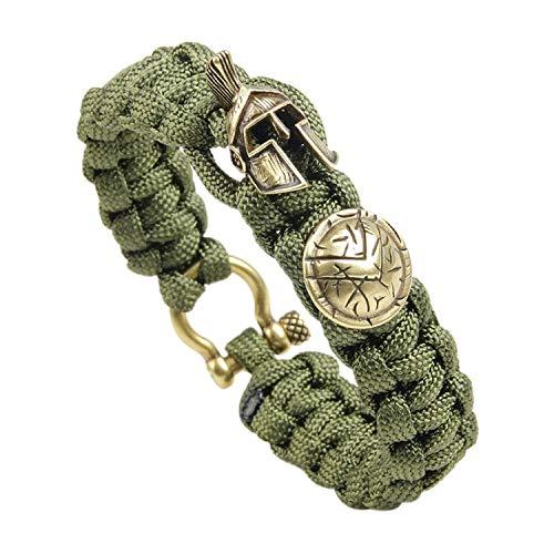 Bracelet Pattern Monet (Leving Bracelet Men's Spartan Helmet Umbrella Rope Bracelets Pulseira Masculina Skull Nylon Bracelet,Q125,21.5cm)