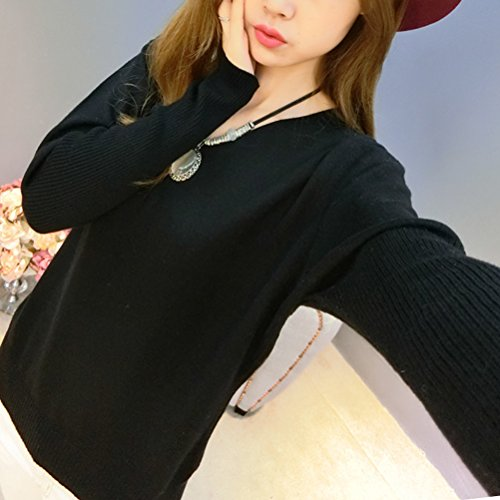 shirt Pull Automne Manches Tricot Chaud Pullover Basique Hiver Sweat Black Col Femme Laine en Longues En V dxHTdqPw6