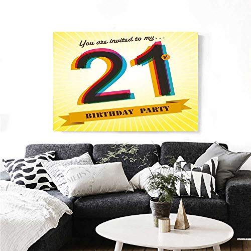 - 21st Birthday Wall Paintings Invitation to an Amazing Birthday Party on a Golden Colored Backdrop Image Print On Canvas for Wall Decor 20