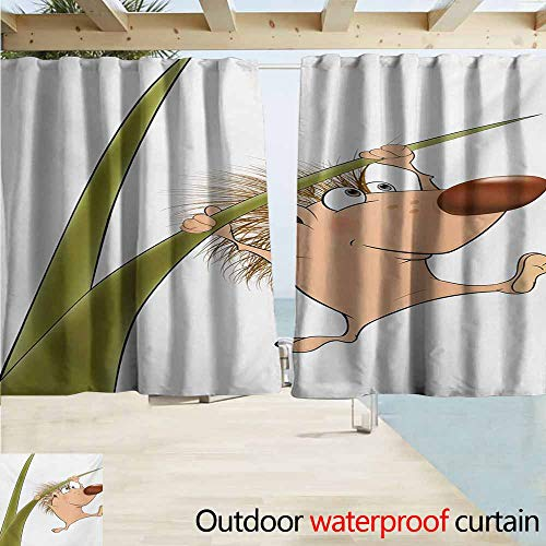 AndyTours Blackout Curtain,Hedgehog Naked Cute Small Animal Cartoon Soft Color Scheme Wildlife Nature Humor Image,Darkening Thermal Insulated Blackout,W63x45L Inches,Tan Brown Green
