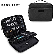 "BAGSMART 3-layer Travel Electronics Cable Organizer Bag for 9.7"" iPad, Hard Drives, Cables, Charger, Kindle, Black"