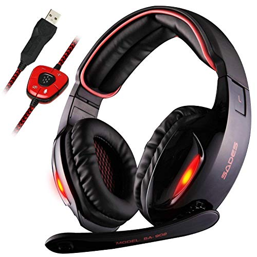 Sades SA902 7.1 Channel Virtual USB Surround Stereo Wired PC Gaming Headset Over Ear Headphones with Mic Revolution Volume Control Noise Canceling LED Light (Black/Red) (Dolby Usb Headset Virtual)