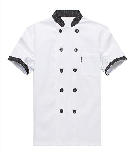 fb7a8058db3 WAIWAIZUI Camisa de Cocinero Cocina Uniforme Manga Corta: Amazon.es: Ropa y  accesorios