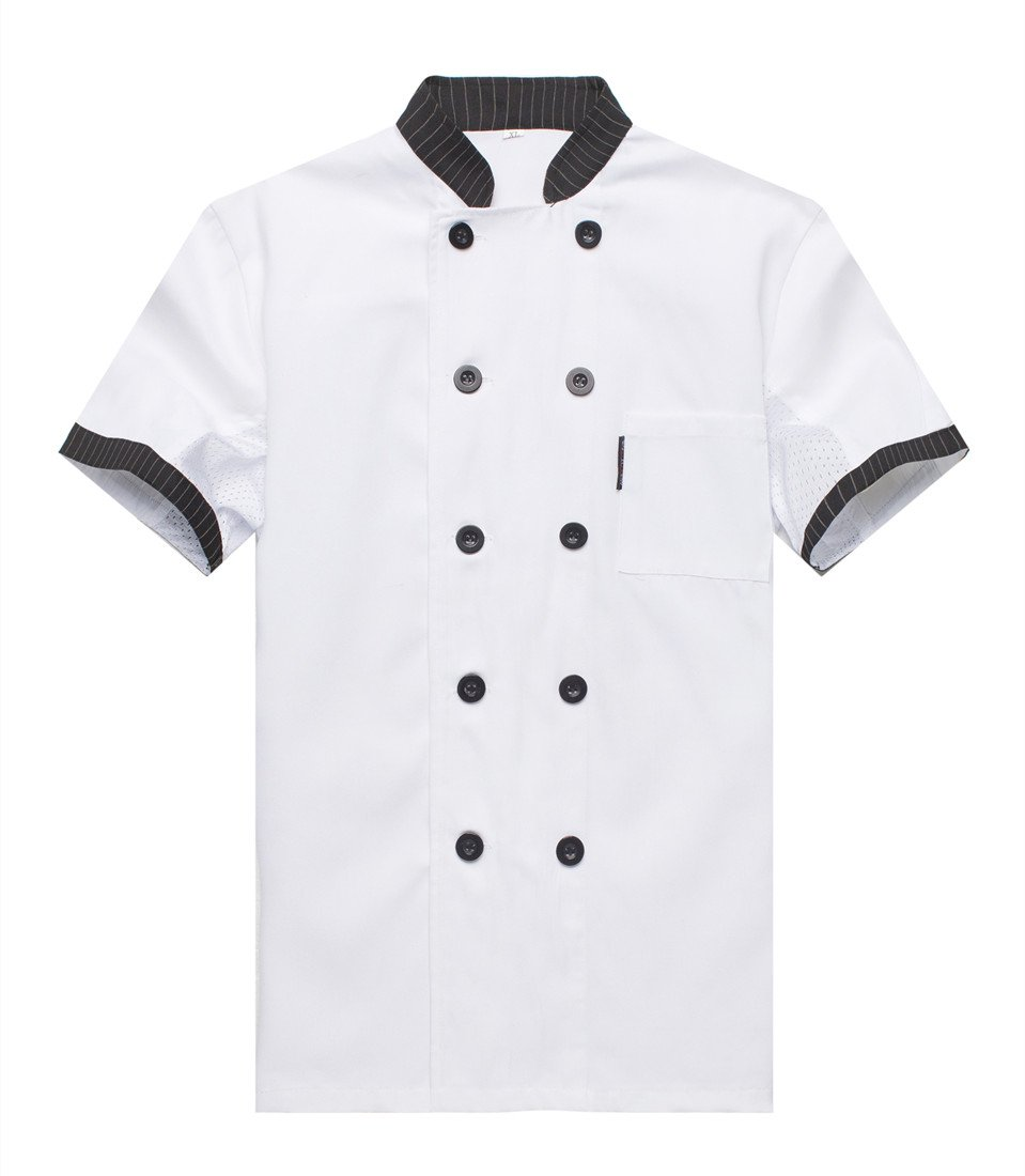 WAIWAIZUI Chef Jackets Waiter Coat Short Sleeves Underarm Mesh Size XL (Label:3XL) White by WAIWAIZUI