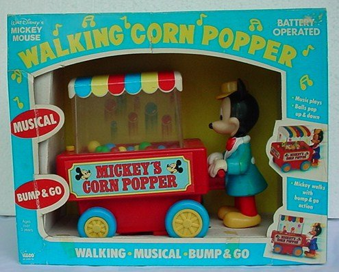 Walt Disney MICKEY MOUSE Walking Corn Popper MUSICAL WALKING BUMP & GO (Mickey Walking Mouse)