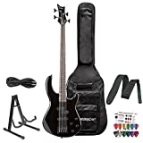 Dean Edge 10 Active PJ Bass, Classic Black Electric Bass with Cable, Strap, Stand & 12 Pick Pack