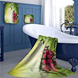 familytaste Spa Print towel set Stones and Bamboo Leaves on the Water Pool Meditation Freshness Relaxing Theme cheap hand towels Apple Green Magenta
