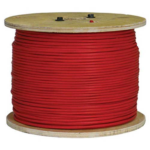 Vertical Cable Fire Alarm Cable, 16 AWG, 2 Conductor, Solid, Unshielded, FPLP (Plenum), 1000ft Spool, Red - Made in USA by Vertical Cable