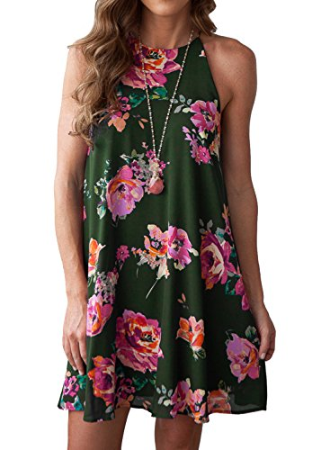MITILLY Women's Halter Neck Boho Floral Print Chiffon Casual Sleeveless Short Dress X-Small Green