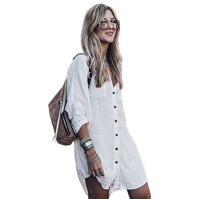 Women's Swimsuit Cover up,Silky T Shirt Button Midi Dress Kimono,Summer Bathing Suit Beach Coverups for Women (CP-Aline) (White)